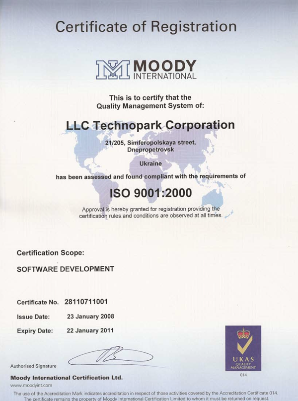 ISO 9001 certificate of TechnoPark Corp.